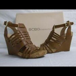 BCBG tan saddle color strap wedge size size 9